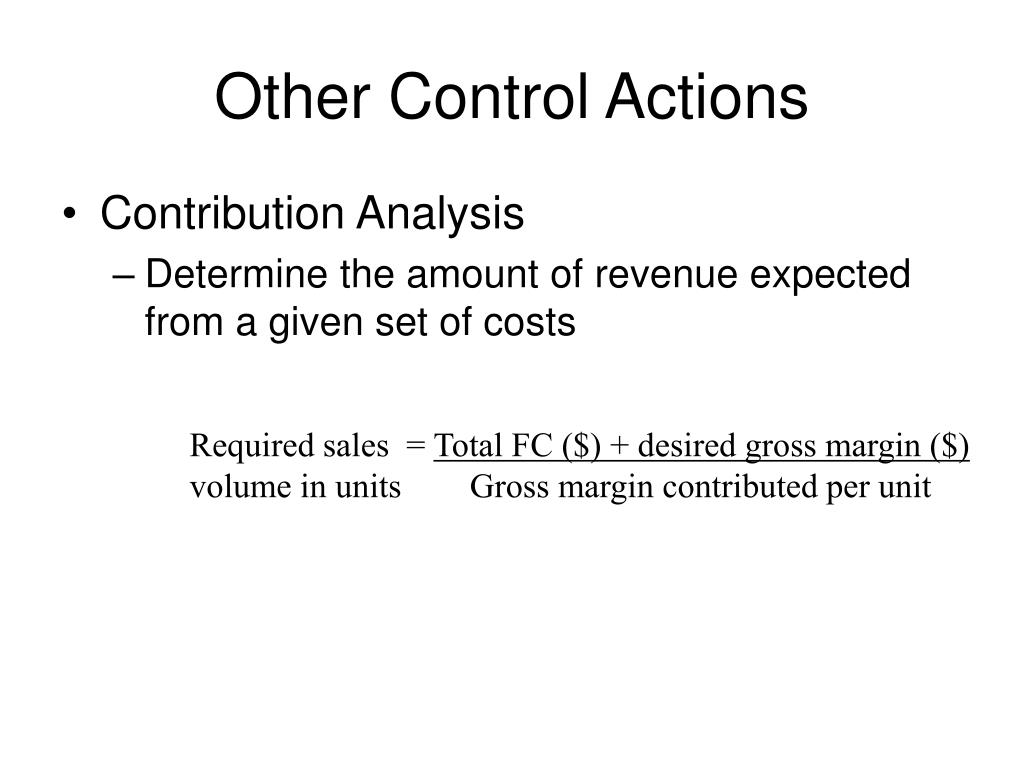 Other Control Actions