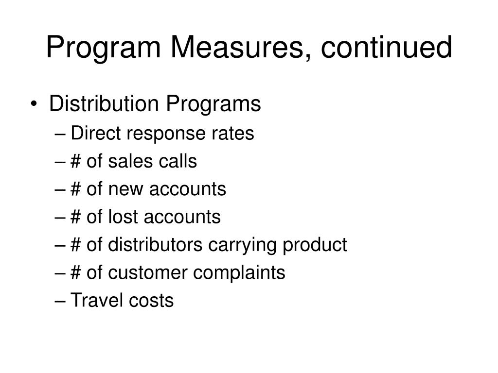 Program Measures, continued