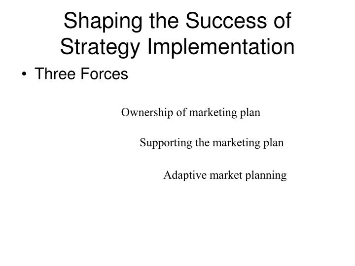 Shaping the success of strategy implementation