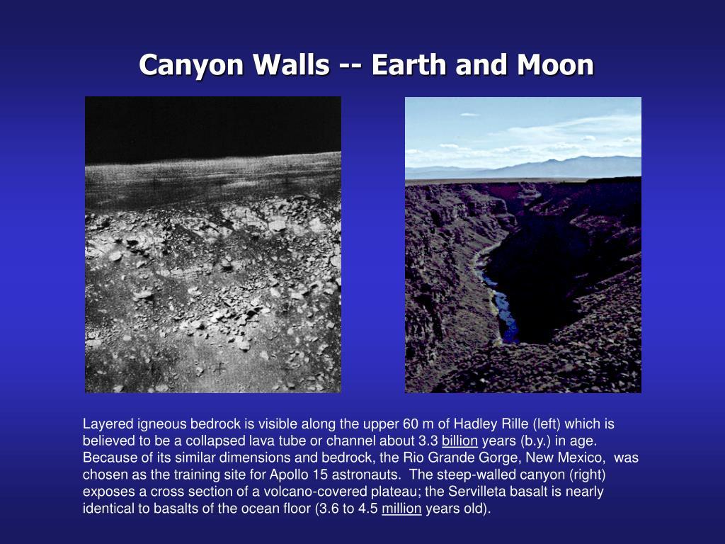 Canyon Walls -- Earth and Moon
