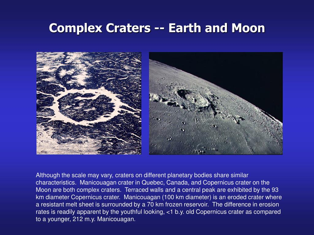 Complex Craters -- Earth and Moon