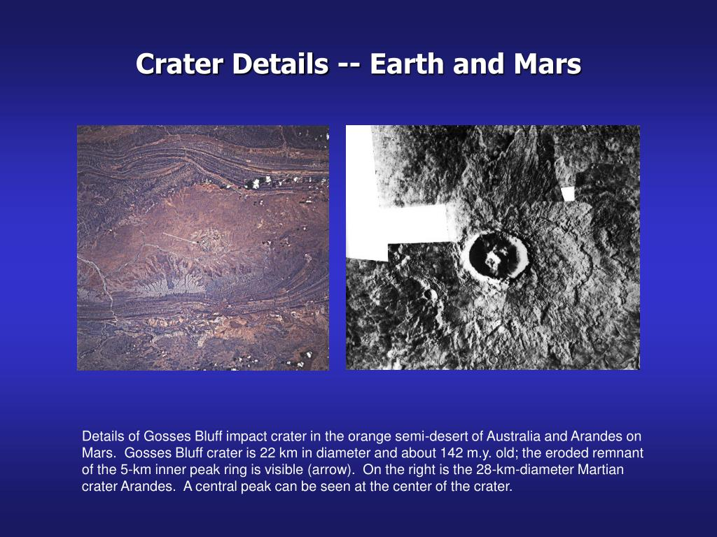 Crater Details -- Earth and Mars