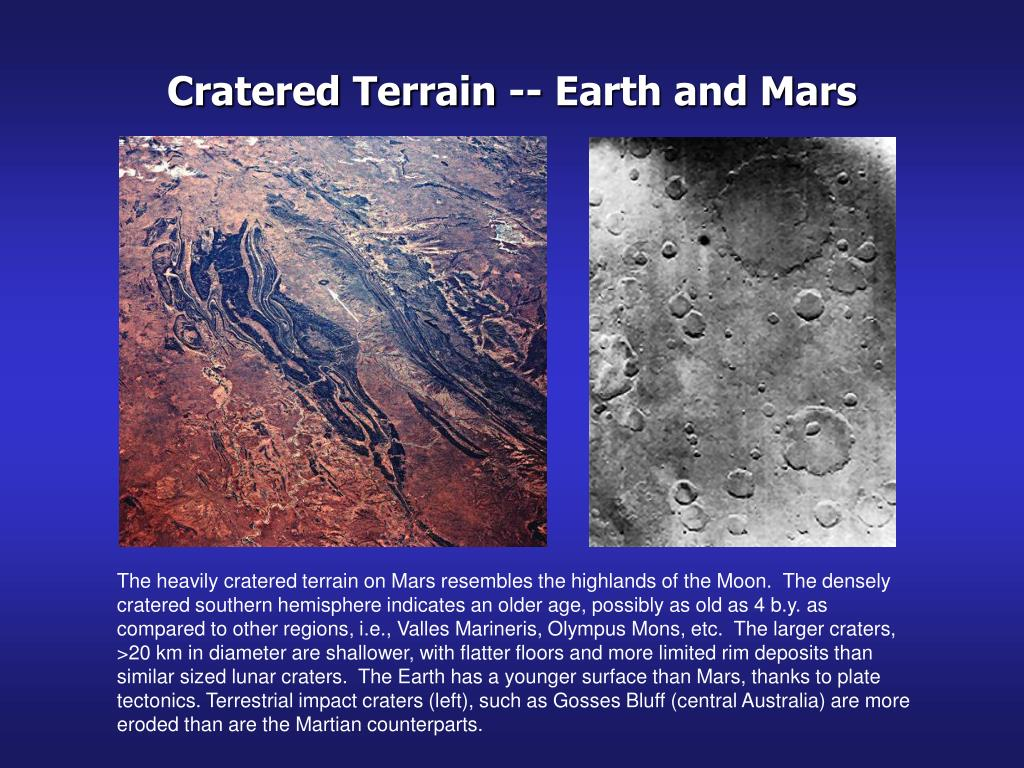 Cratered Terrain -- Earth and Mars