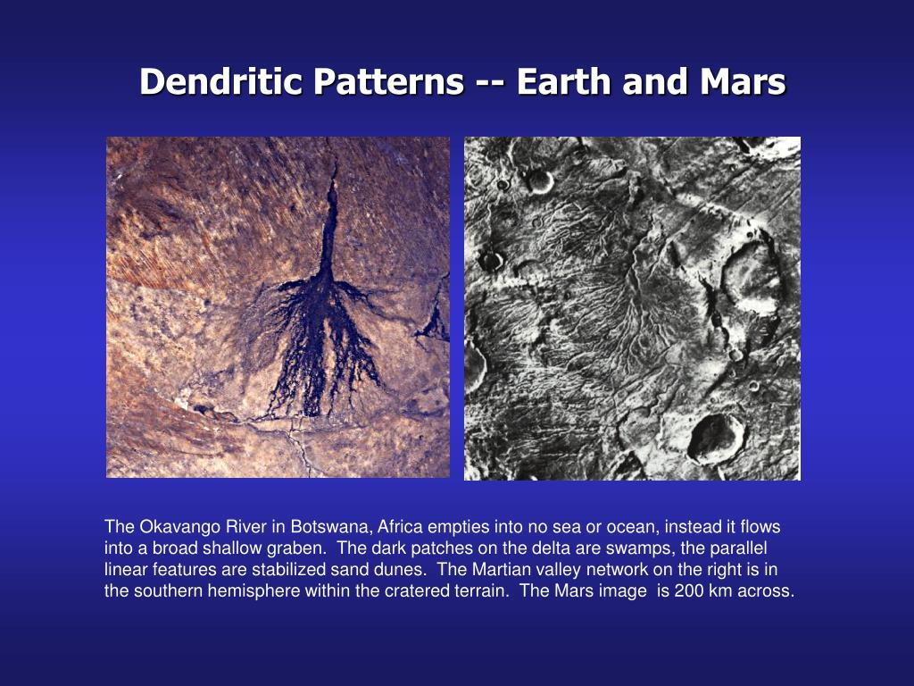Dendritic Patterns -- Earth and Mars