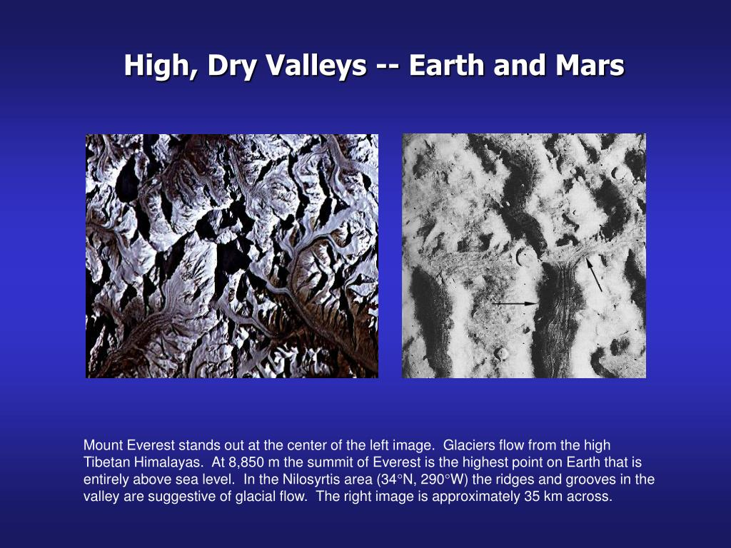 High, Dry Valleys -- Earth and Mars