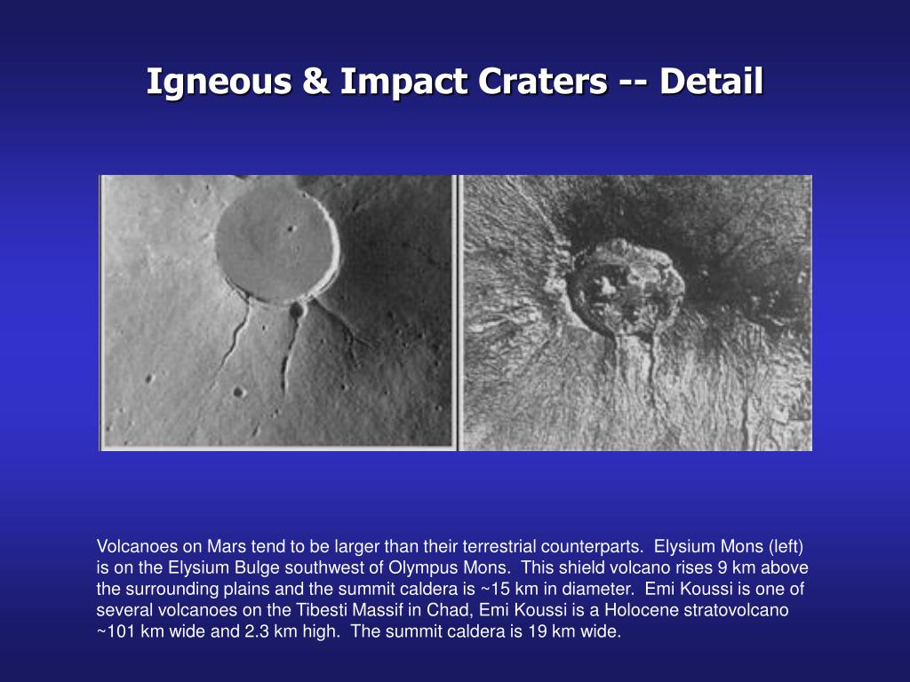 Igneous & Impact Craters -- Detail