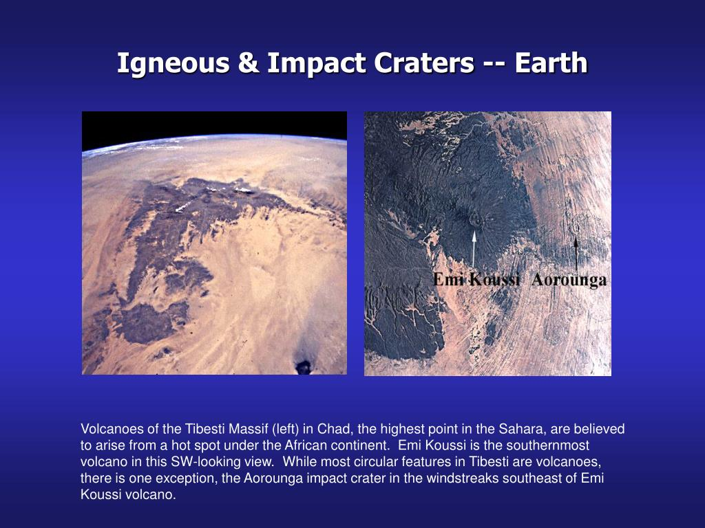 Igneous & Impact Craters -- Earth