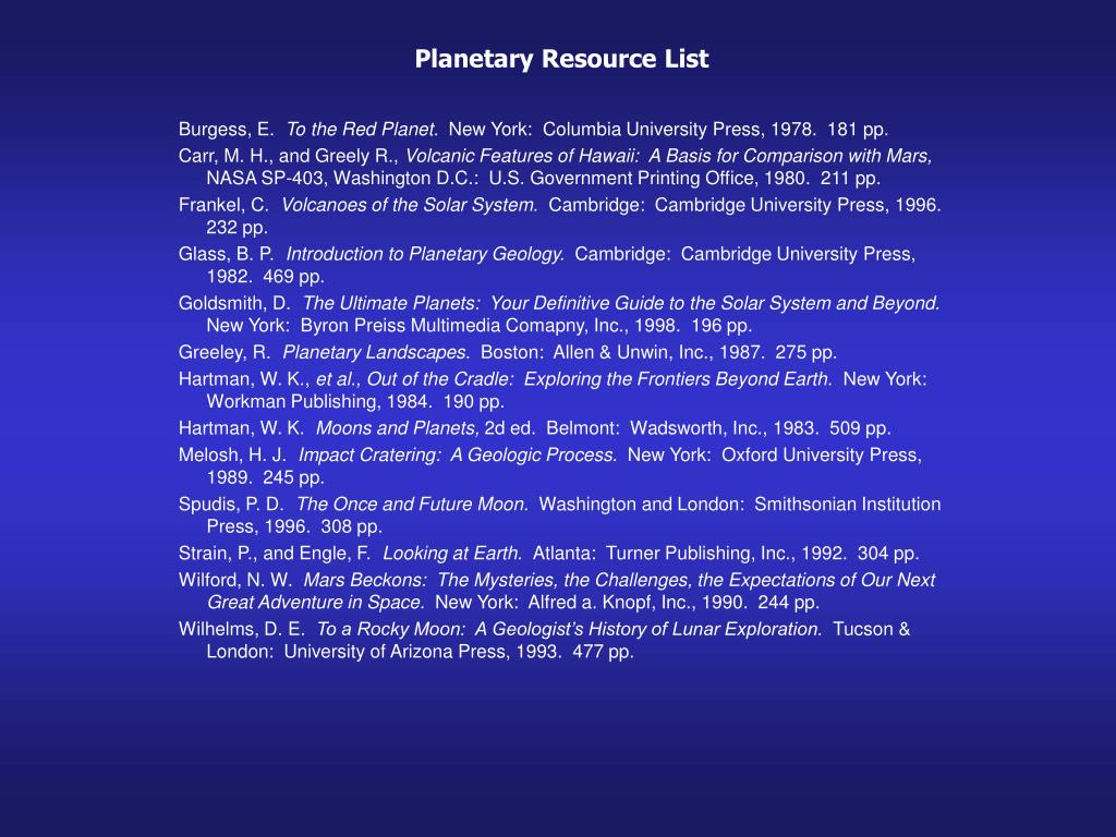 Planetary Resource List