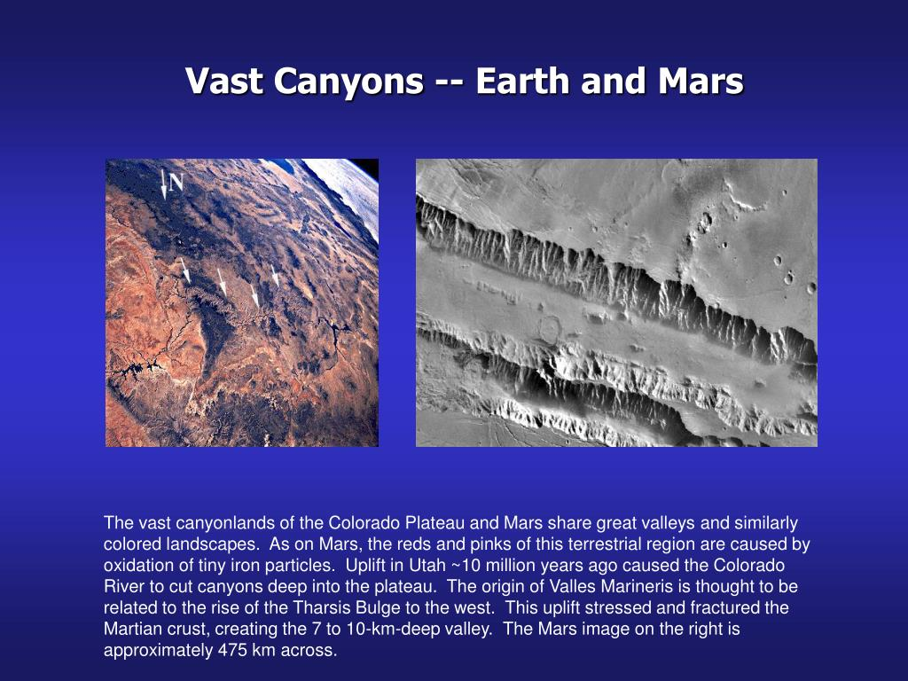 Vast Canyons -- Earth and Mars