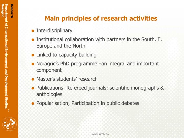 Main principles of research activities