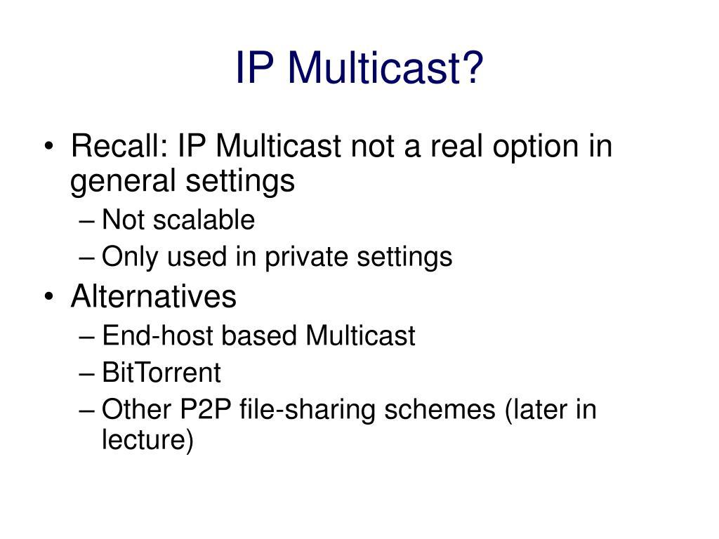 IP Multicast?