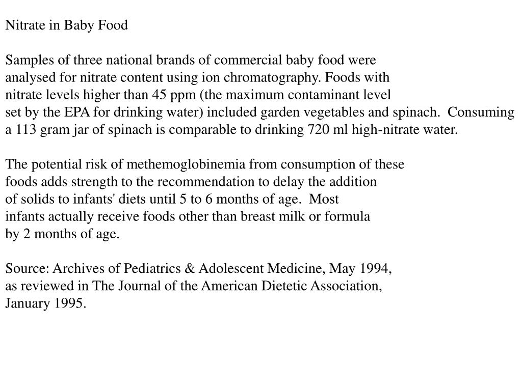 Nitrate in Baby Food