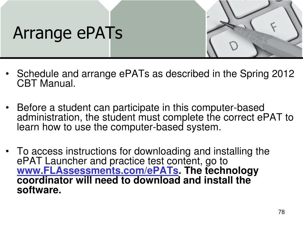 Arrange ePATs