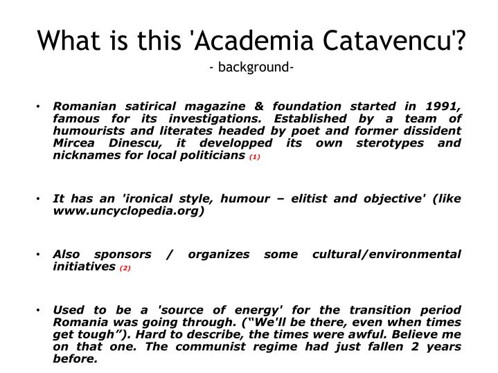 What is this academia catavencu background