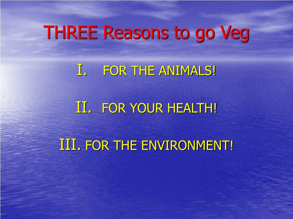 THREE Reasons to go Veg