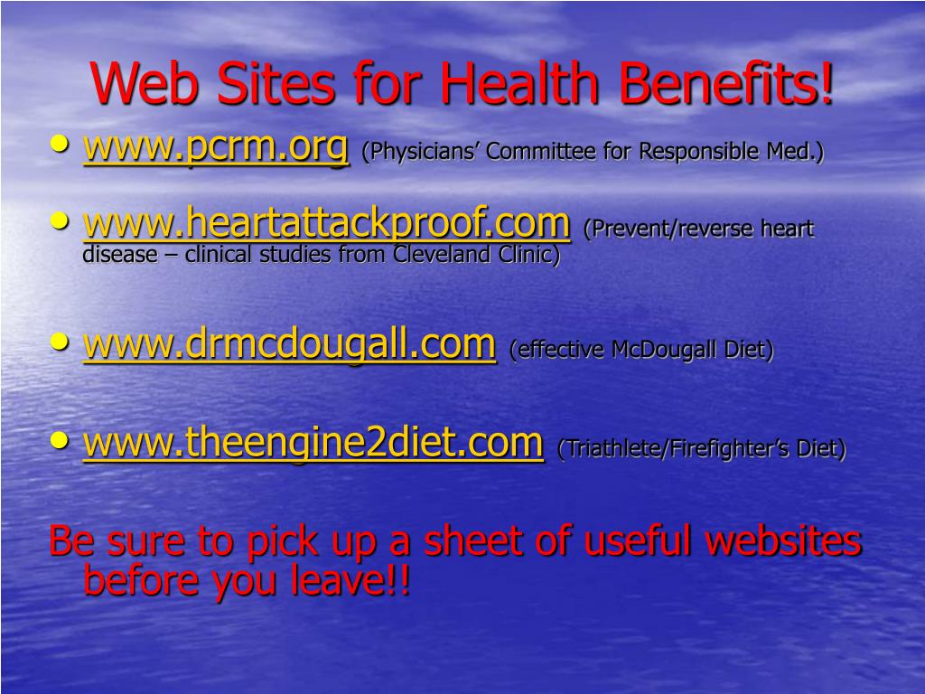 Web Sites for Health Benefits!