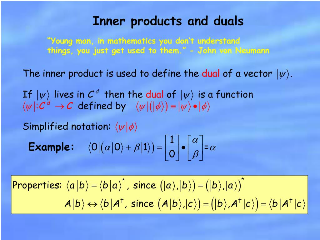 Inner products and duals