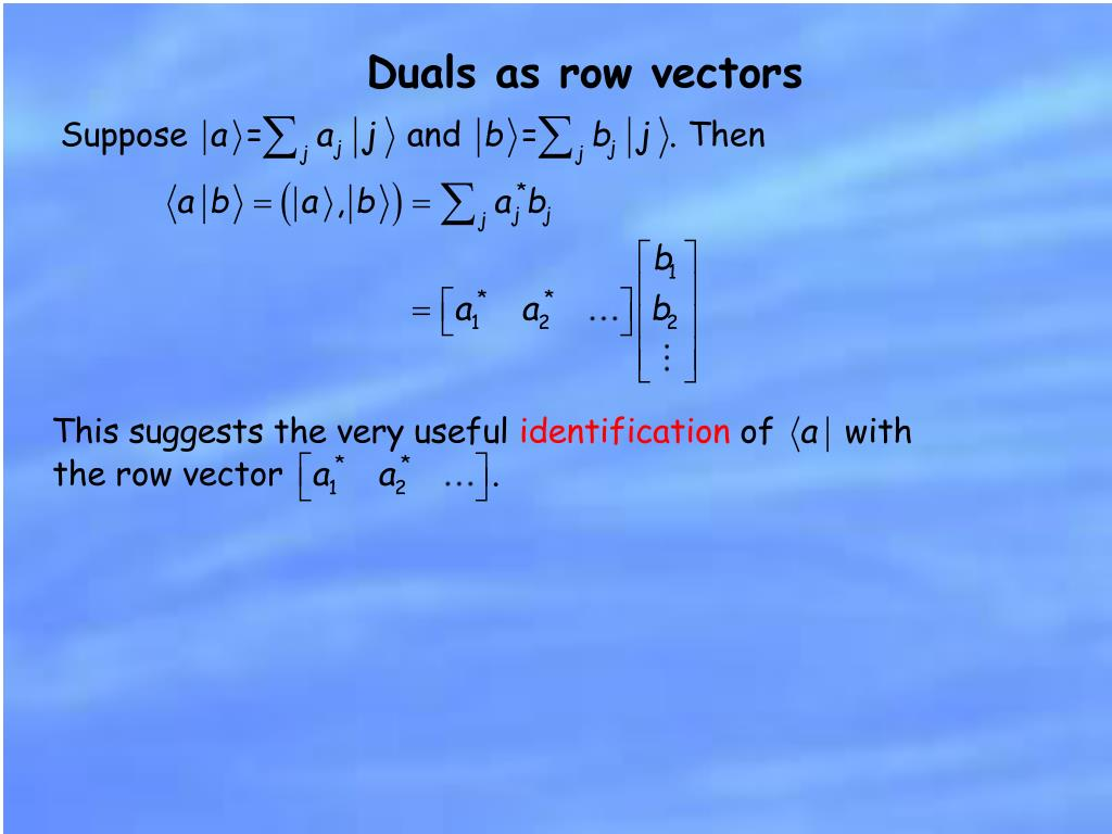 Duals as row vectors
