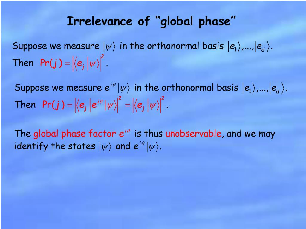 "Irrelevance of ""global phase"""