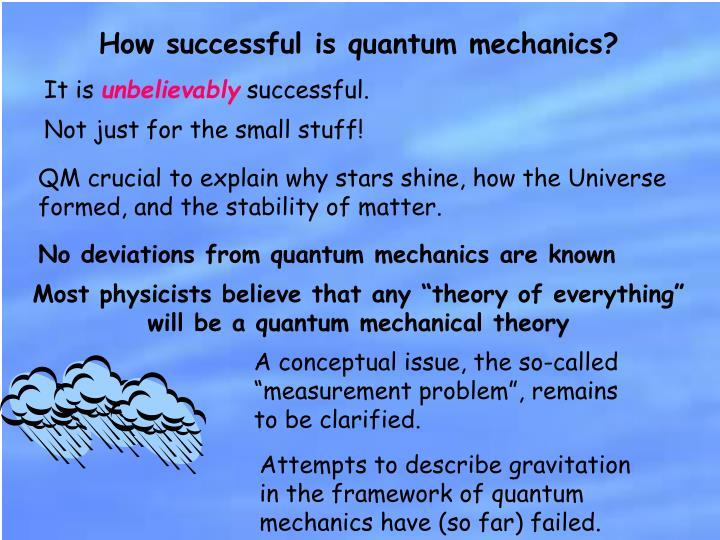 How successful is quantum mechanics?