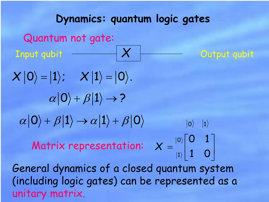 Dynamics: quantum logic gates