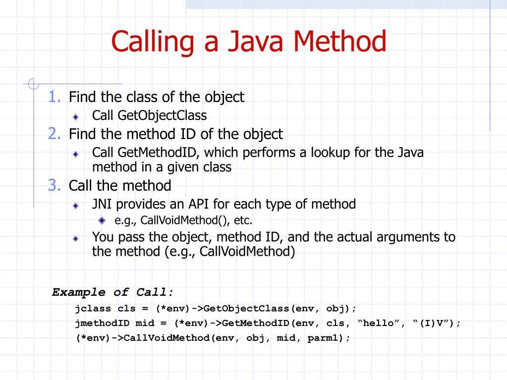 Calling a Java Method