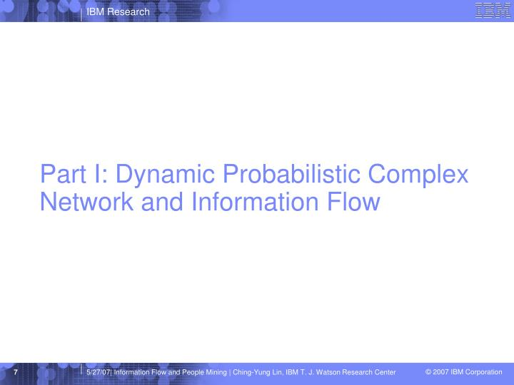 Part I: Dynamic Probabilistic Complex Network and Information Flow