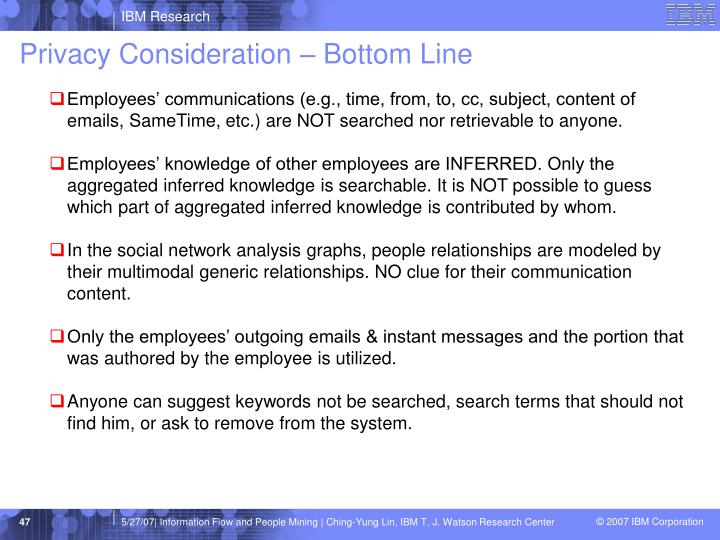 Privacy Consideration – Bottom Line