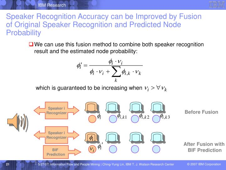 Speaker Recognition Accuracy can be Improved by Fusion of Original Speaker Recognition and Predicted Node Probability