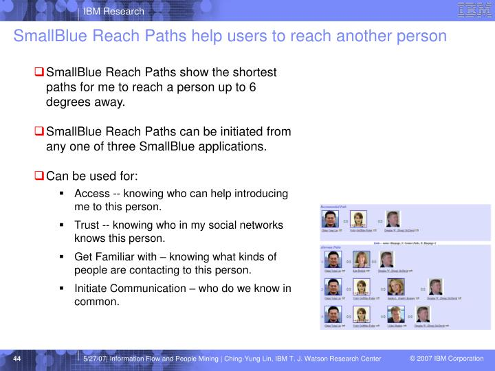 SmallBlue Reach Paths help users to reach another person