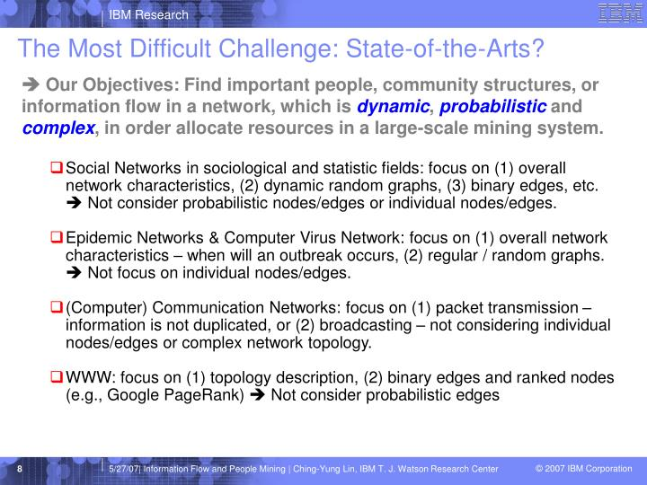 The Most Difficult Challenge: State-of-the-Arts?
