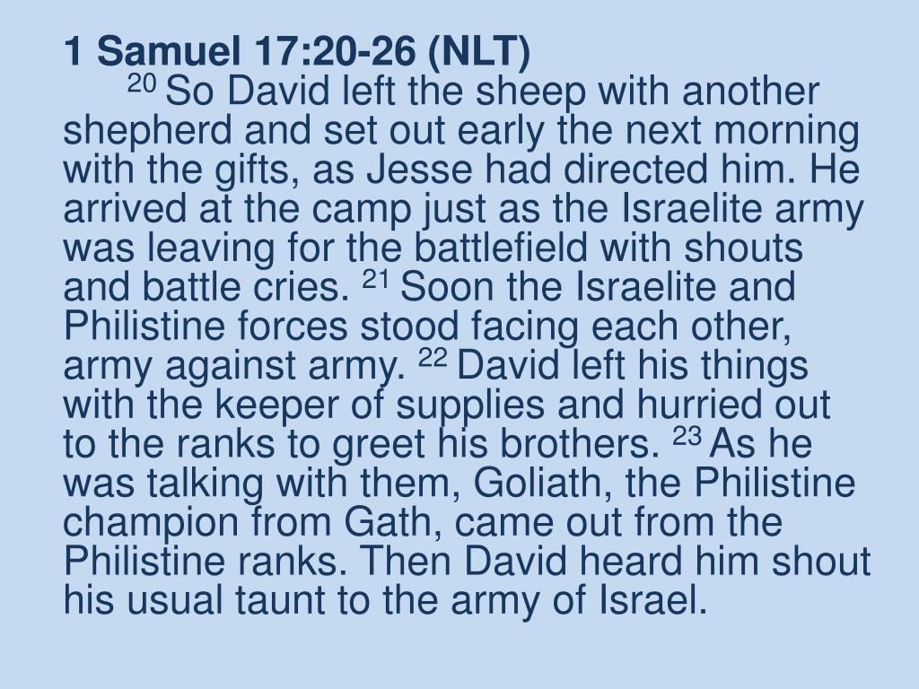1 Samuel 17:20-26 (NLT)