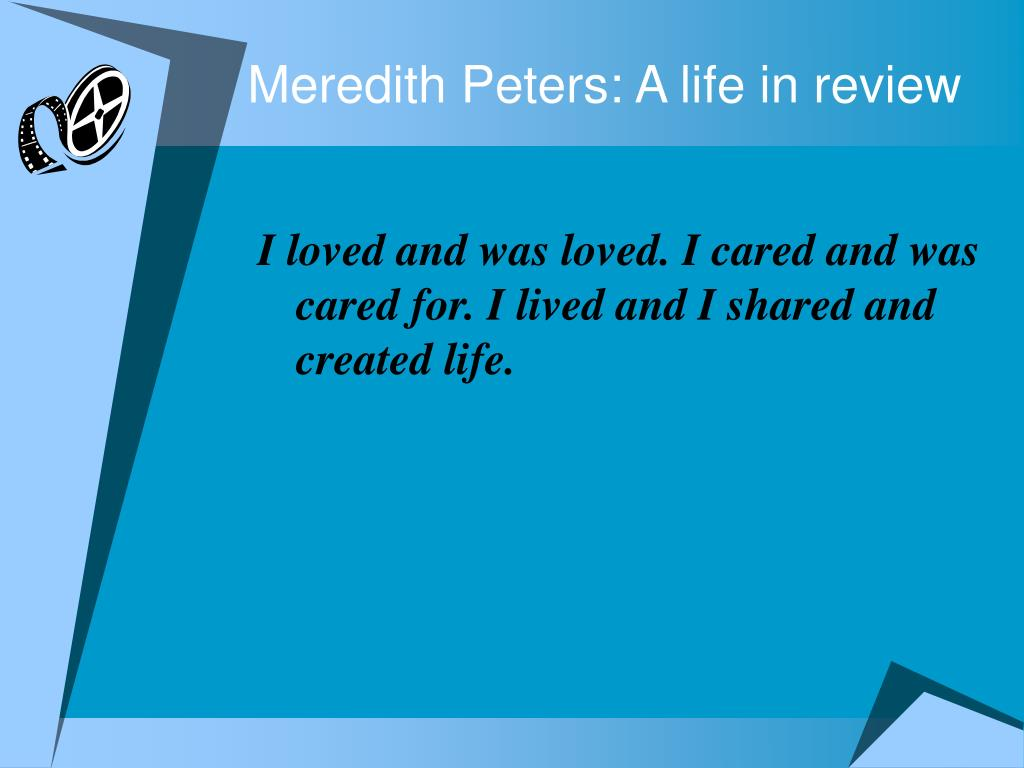 Meredith Peters: A life in review