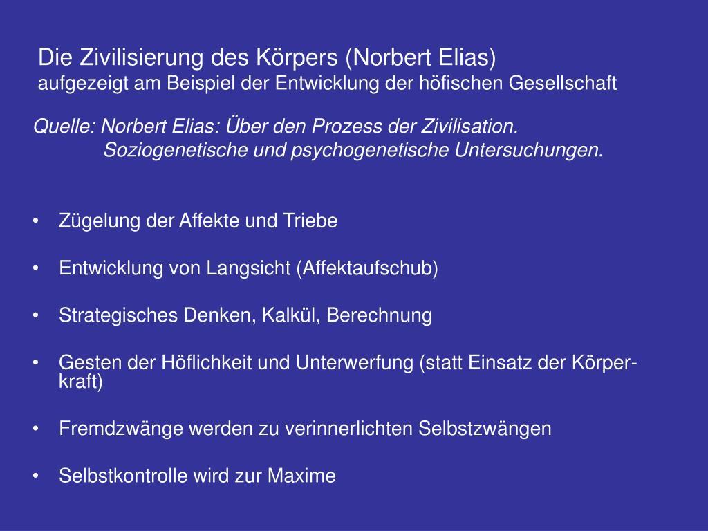 Die Zivilisierung des Körpers (Norbert Elias)
