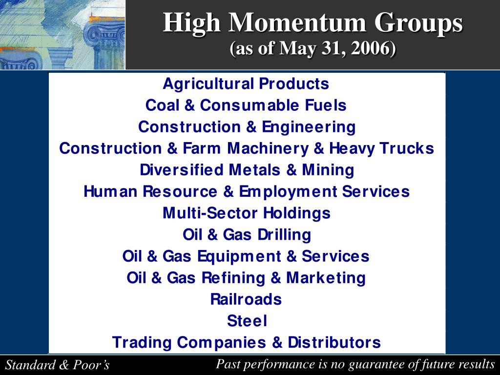 High Momentum Groups