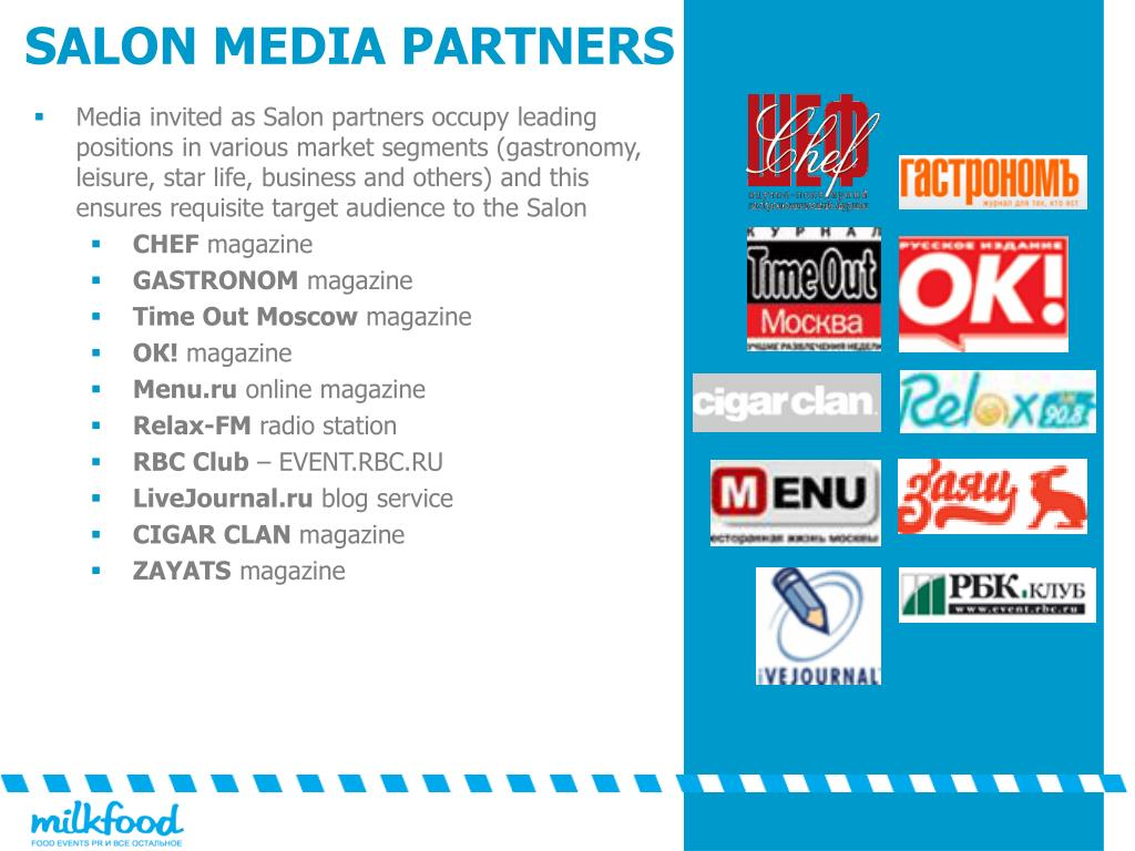 Media invited as Salon partners occupy leading positions in various market segments (gastronomy, leisure, star life, business and others