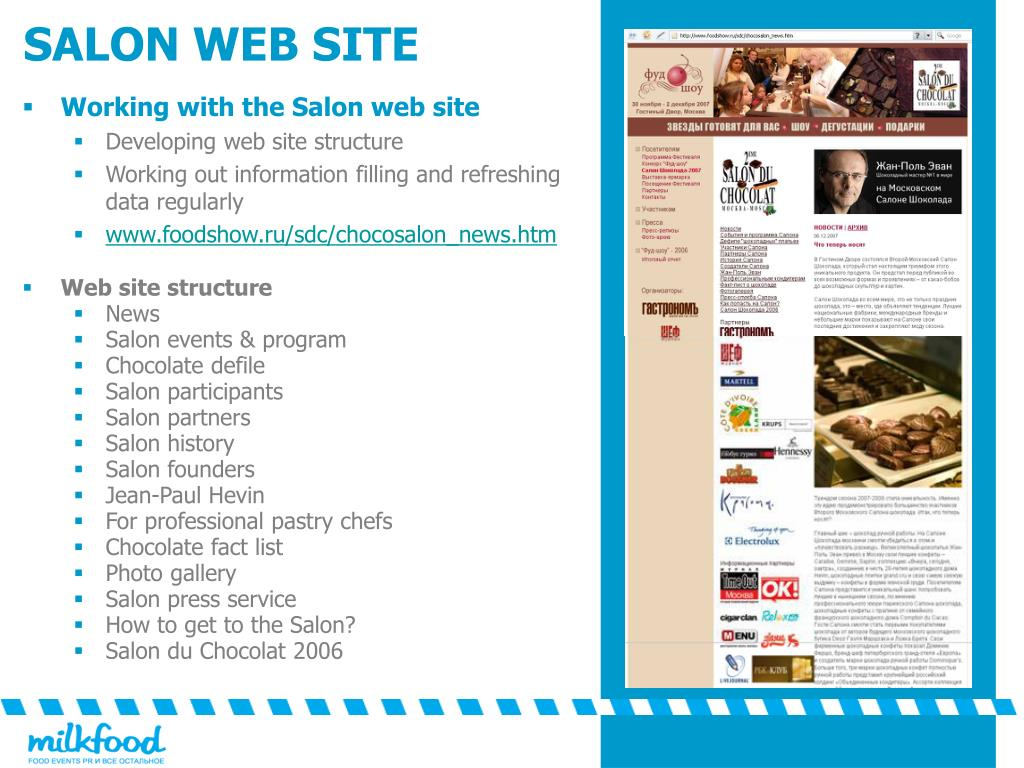 Working with the Salon web site