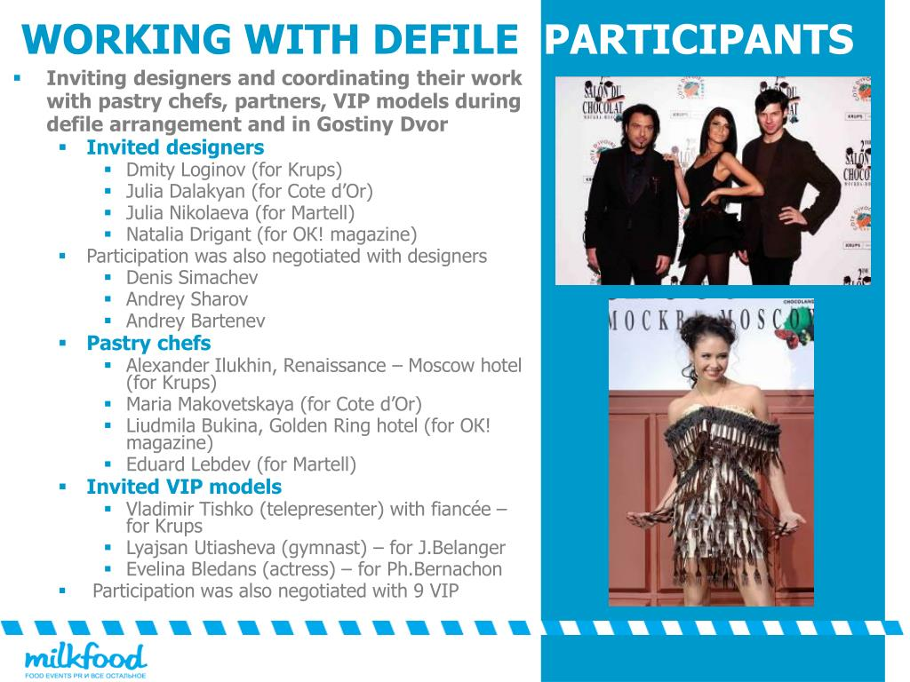 Inviting designers and coordinating their work with pastry chefs, partners, VIP models during defile arrangement and in Gostiny Dvor