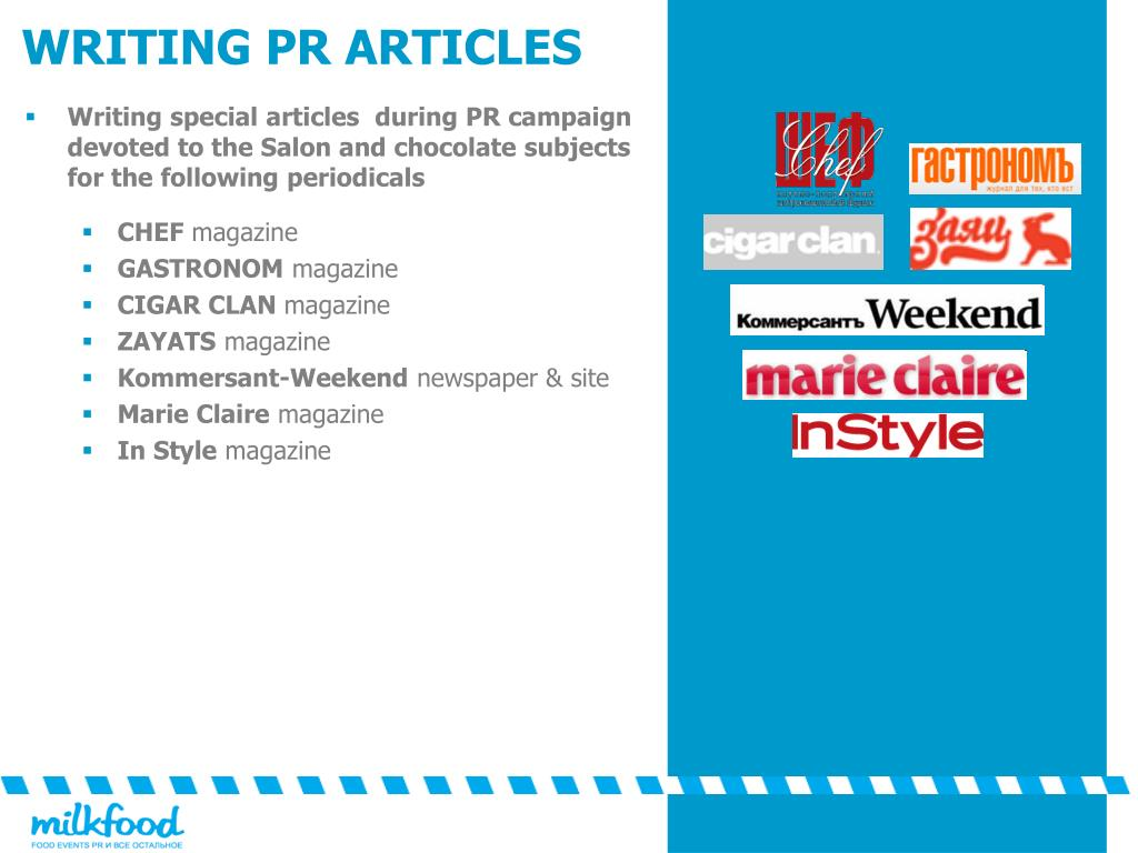 Writing special articles  during PR campaign devoted to the Salon and chocolate subjects