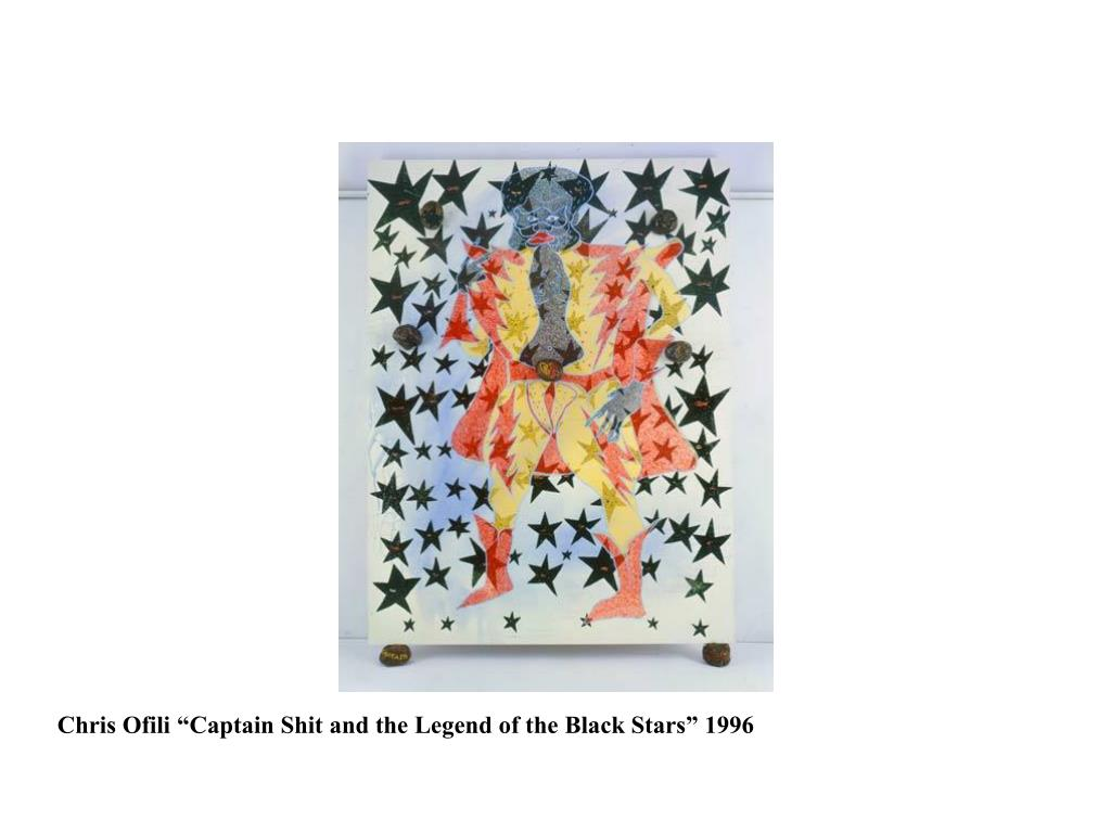"Chris Ofili ""Captain Shit and the Legend of the Black Stars"" 1996"