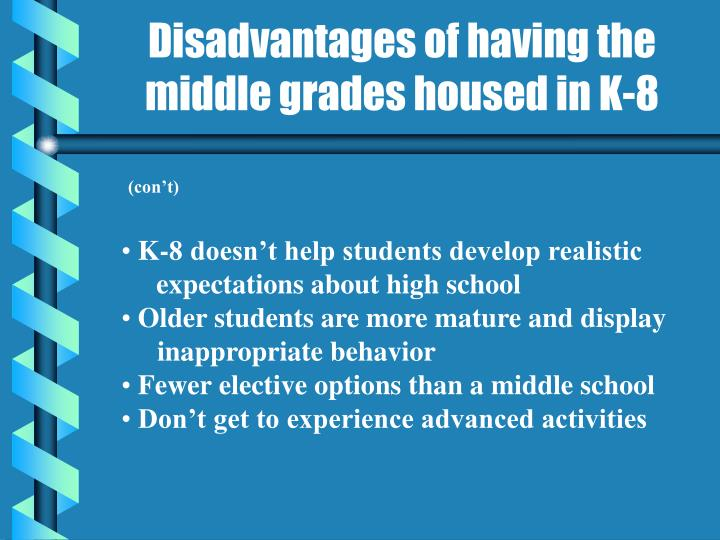 Disadvantages of having the middle grades housed in K-8