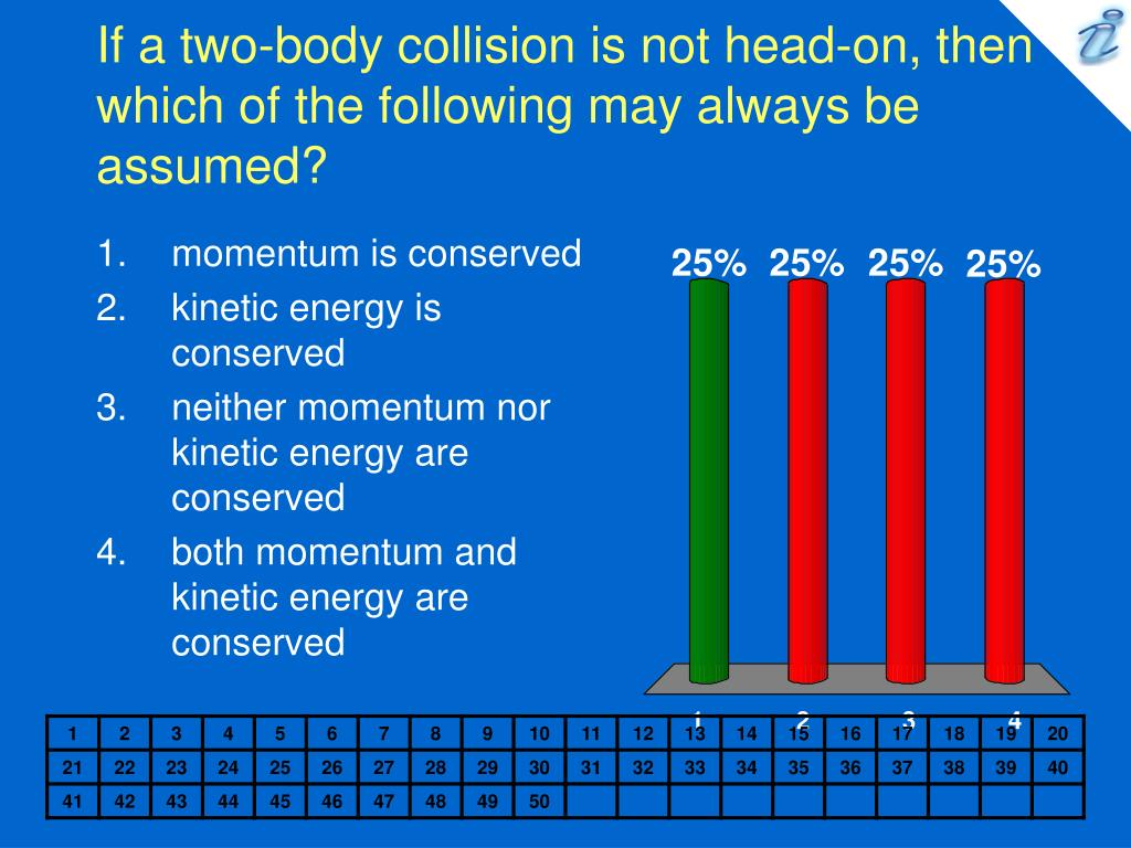 If a two-body collision is not head-on, then which of the following may always be assumed?
