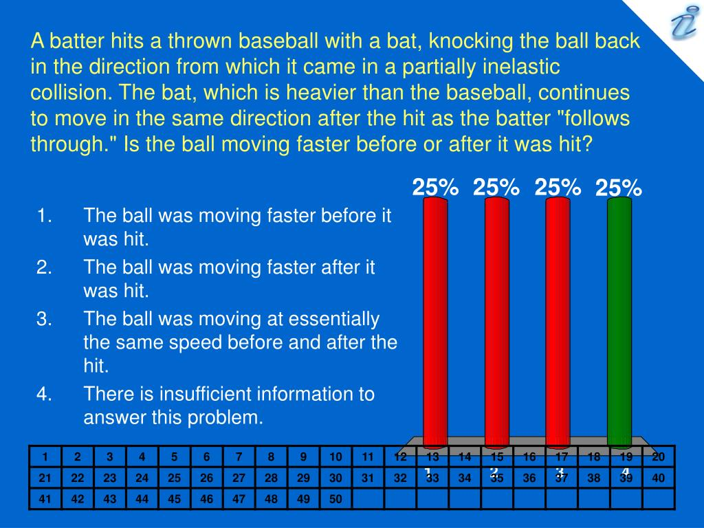 "A batter hits a thrown baseball with a bat, knocking the ball back in the direction from which it came in a partially inelastic collision. The bat, which is heavier than the baseball, continues to move in the same direction after the hit as the batter ""follows through."" Is the ball moving faster before or after it was hit?"