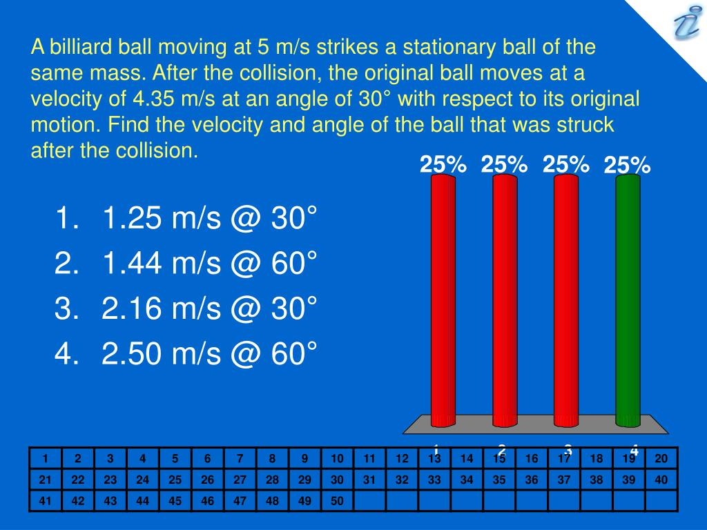 A billiard ball moving at 5 m/s strikes a stationary ball of the same mass. After the collision, the original ball moves at a velocity of 4.35 m/s at an angle of 30
