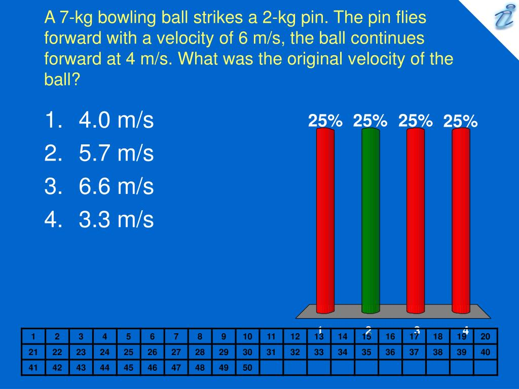 A 7-kg bowling ball strikes a 2-kg pin. The pin flies forward with a velocity of 6 m/s, the ball continues forward at 4 m/s. What was the original velocity of the ball?