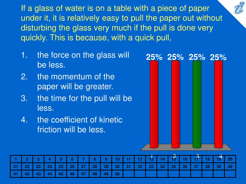 If a glass of water is on a table with a piece of paper under it, it is relatively easy to pull the paper out without disturbing the glass very much if the pull is done very quickly. This is because, with a quick pull,