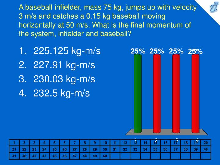 A baseball infielder, mass 75 kg, jumps up with velocity 3 m/s and catches a 0.15 kg baseball moving...