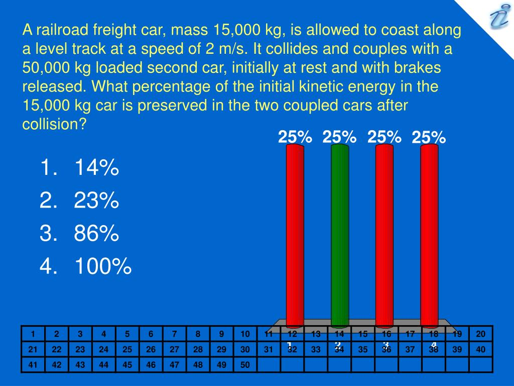 A railroad freight car, mass 15,000 kg, is allowed to coast along a level track at a speed of 2 m/s. It collides and couples with a 50,000 kg loaded second car, initially at rest and with brakes released. What percentage of the initial kinetic energy in the 15,000 kg car is preserved in the two coupled cars after collision?