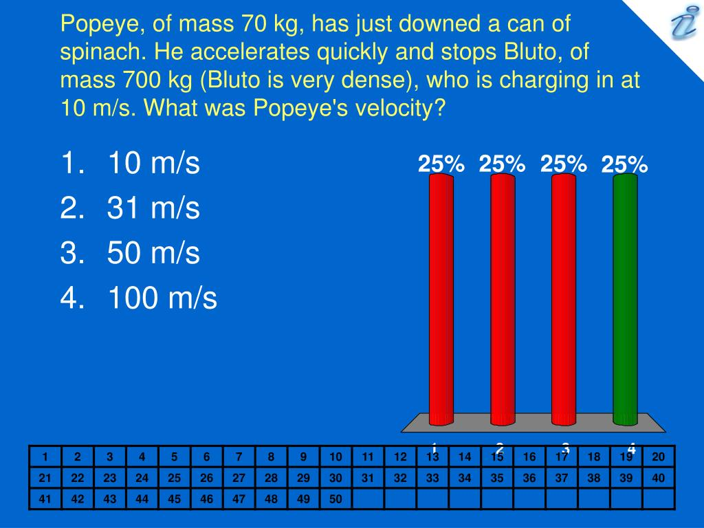 Popeye, of mass 70 kg, has just downed a can of spinach. He accelerates quickly and stops Bluto, of mass 700 kg (Bluto is very dense), who is charging in at 10 m/s. What was Popeye's velocity?