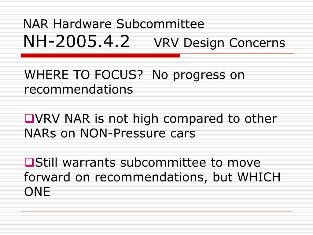 NAR Hardware Subcommittee